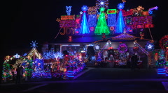 Toronto house covering in Christmas lights for the holiday festive season Stock Footage