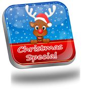 Button Christmas Special with reindeer - stock illustration