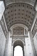 Details of Arc de triomphe in Paris, monumental architecture. - stock photo