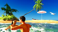 Romatic couple in tropical paradise at sunset - stock illustration