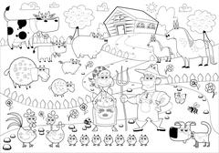 Funny farm family in black and white. - stock illustration