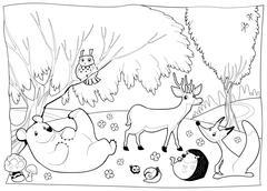 Stock Illustration of Animals in the wood, black and white.