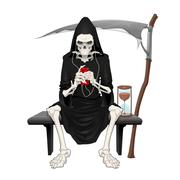 The death sitting on a bench. - stock illustration