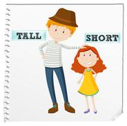 Opposite adjectives tall and short - stock illustration