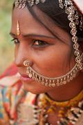 Portrait of traditional Indian girl in saree - stock photo