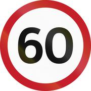 Road sign in the Philippines - Speed Limit Restriction (Maximum 60 km/h) Stock Illustration
