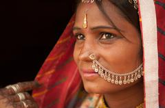 Portrait of traditional Indian female in saree Stock Photos