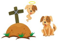 Dog sitting by the graveyard Stock Illustration
