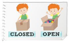 Opposite adjectives closed and open - stock illustration