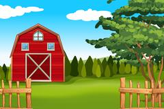 Farmland with barn on the field - stock illustration