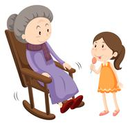 Old lady on rocking chair and a girl Stock Illustration