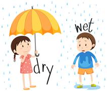 Opposite adjective dry and wet - stock illustration