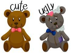 Cute teddy bear and ugly teddy bear Stock Illustration