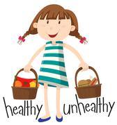 Girl and basket with healthy food and unhealthy food - stock illustration