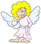 Stock Illustration of pensive looking cartoon angel