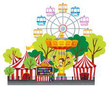 Children riding on swing at the fun park Stock Illustration