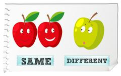 Opposite adjectives with same and different Stock Illustration