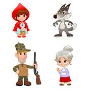 Stock Illustration of Little Red Hiding Hood's characters.