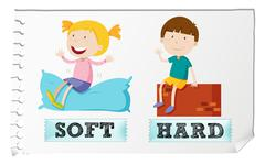Opposite adjectives soft and hard - stock illustration