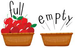 Empty basket and basket full of apples Stock Illustration