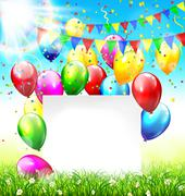 Celebration background with frame buntings balloons grass lawn c - stock illustration