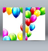 Two Celebration Greet Cards with Inflatable Balloons Stock Illustration