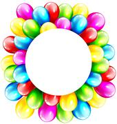 Multicolored Inflatable Celebration Bright Balloons with Circle - stock illustration