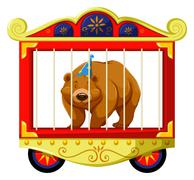 Grizzly bear in the circus cage Stock Illustration