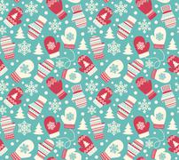 Seamless Winter Holidays Pattern with Mittens Gloves and Snowfla Stock Illustration