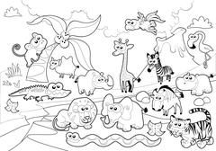 Stock Illustration of Savannah animal family with background in black and white.