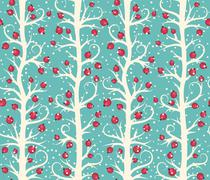 Stock Illustration of Abstract Seamless Christmas Winter Pattern with Berries on Trees
