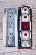 Older disassembled rear car lights Stock Photos
