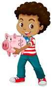 African american boy and piggy bank - stock illustration