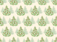 Seamless Pattern with Evergreen Christmas Tree Pine Fir Isolated Piirros