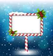 Stock Illustration of candy cane billboard with holly in snowfall