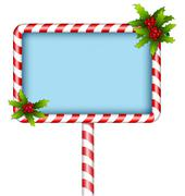 candy cane billboard with holly on white - stock illustration