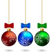 Three multicolored christmas balls with bows isolated on white - stock illustration