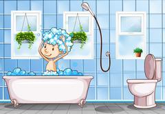 Kid taking bath in the bathroom Stock Illustration