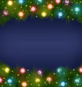 Christmas lights on pine on blue Stock Illustration
