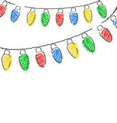 Hand drawn Christmas lights isolated on white Piirros