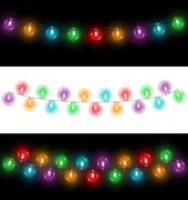 Led Christmas lights on black and white backgrounds Piirros