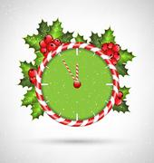 Candy cane clock with holly - stock illustration