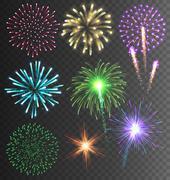 Festive Colorful Firework Salute Burst on Transparent Background Stock Illustration