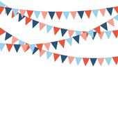 Multicolored bright buntings flags garlands isolated on white Stock Illustration