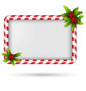 Candy cane frame with holly on white Stock Illustration