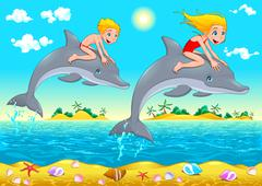 Stock Illustration of Boy, girl and dolphin in the sea.