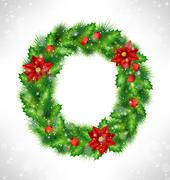 Wreath with holly, pine and poinsettia on grayscale Stock Illustration