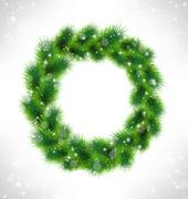 Christmas wreath like frame in snowfall on grayscale background Stock Illustration