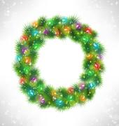 Christmas wreath with multicolored glassy led Christmas lights g Stock Illustration