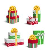 Set Collection of Colorful Celebration Christmas Gift Boxes with Stock Illustration